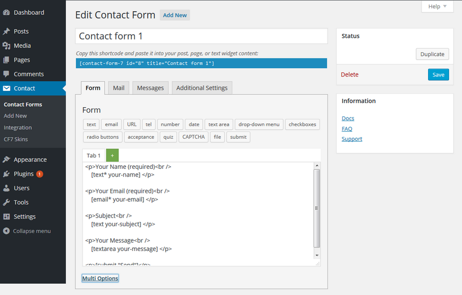 Works within the Contact Form 7 plugin interface