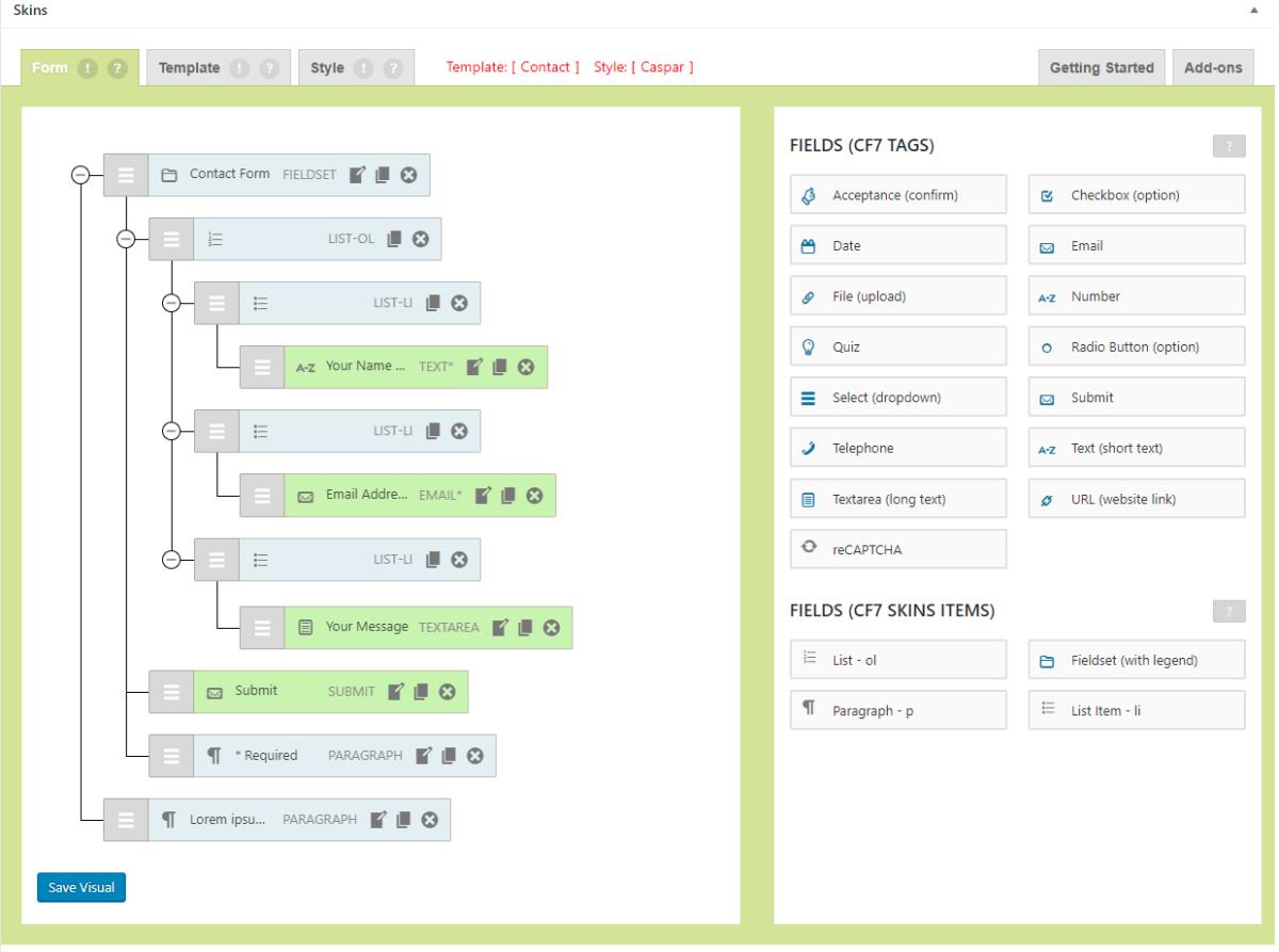 CF7 Skins interactive Visual Editor