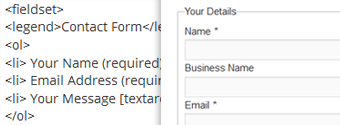 form content (Template) – HTML