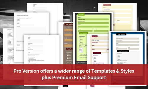 CF7 Skins Pro provides a wider range of Templates & Styles for commonly used forms